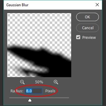 increase the value of Radius around 8.0 pixels