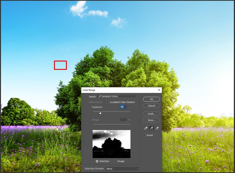 Make selection using color range photoshop