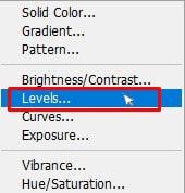 dialog box named Levels