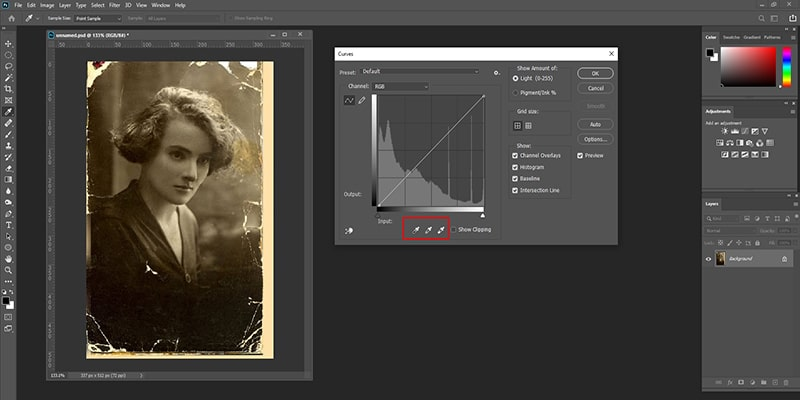 Adjusting the Levels and Curves For Photo Restoration