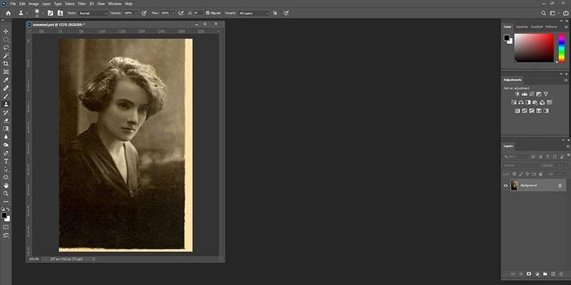 Restore Photos Using Clone Stamp Tool