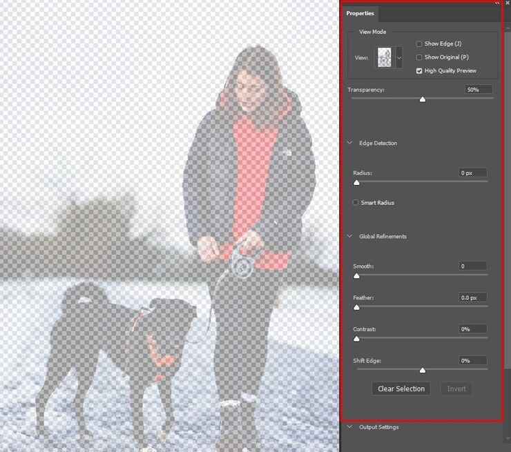 Properties section to fine-tune the image